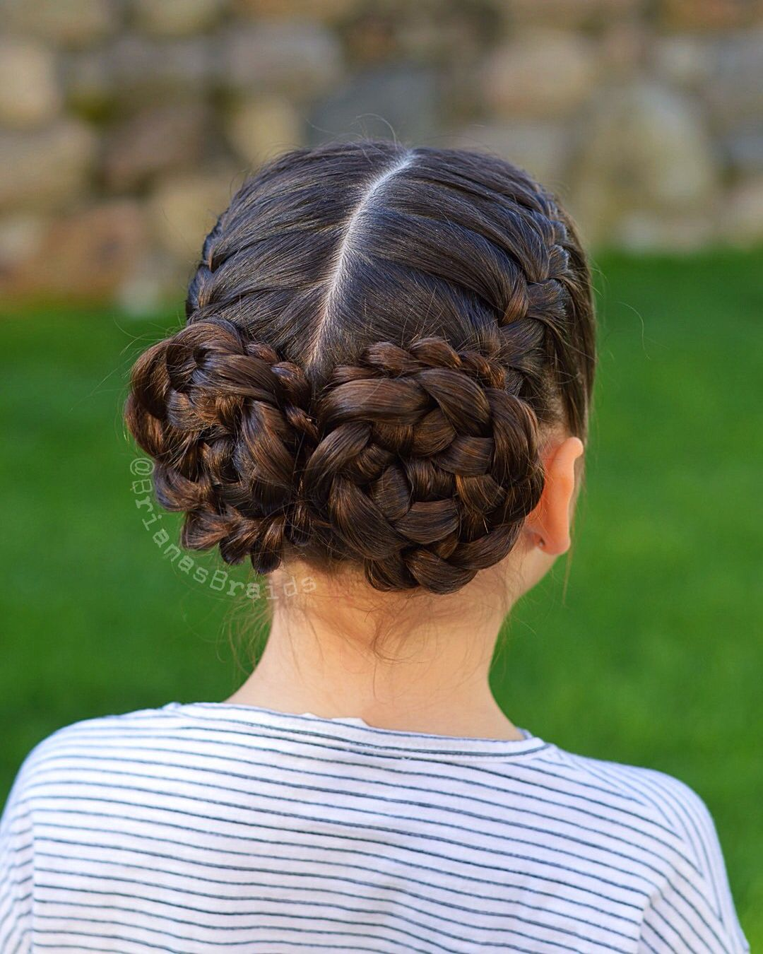 french braids into flower buns for field trip today. have a