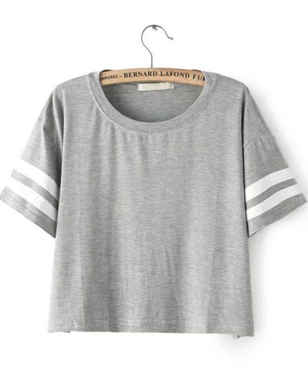 0d29fef5a Grey Striped Short Sleeve Crop Top