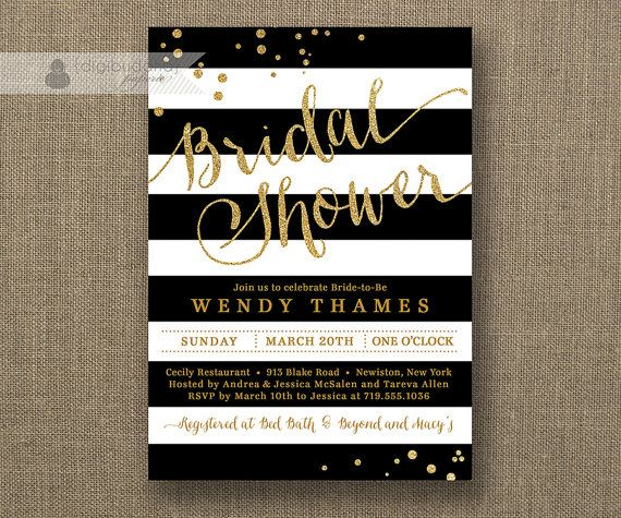 Beautiful Black U0026 White Stripe Bridal Shower Invitation Gold Glitter Dots Modern  Script Classic FREE PRIORITY SHIPPING