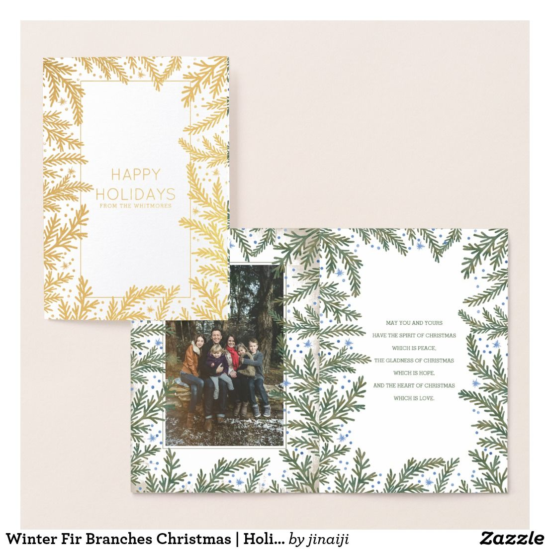 Winter Fir Branches Christmas Holiday Photo Foil Card Photo
