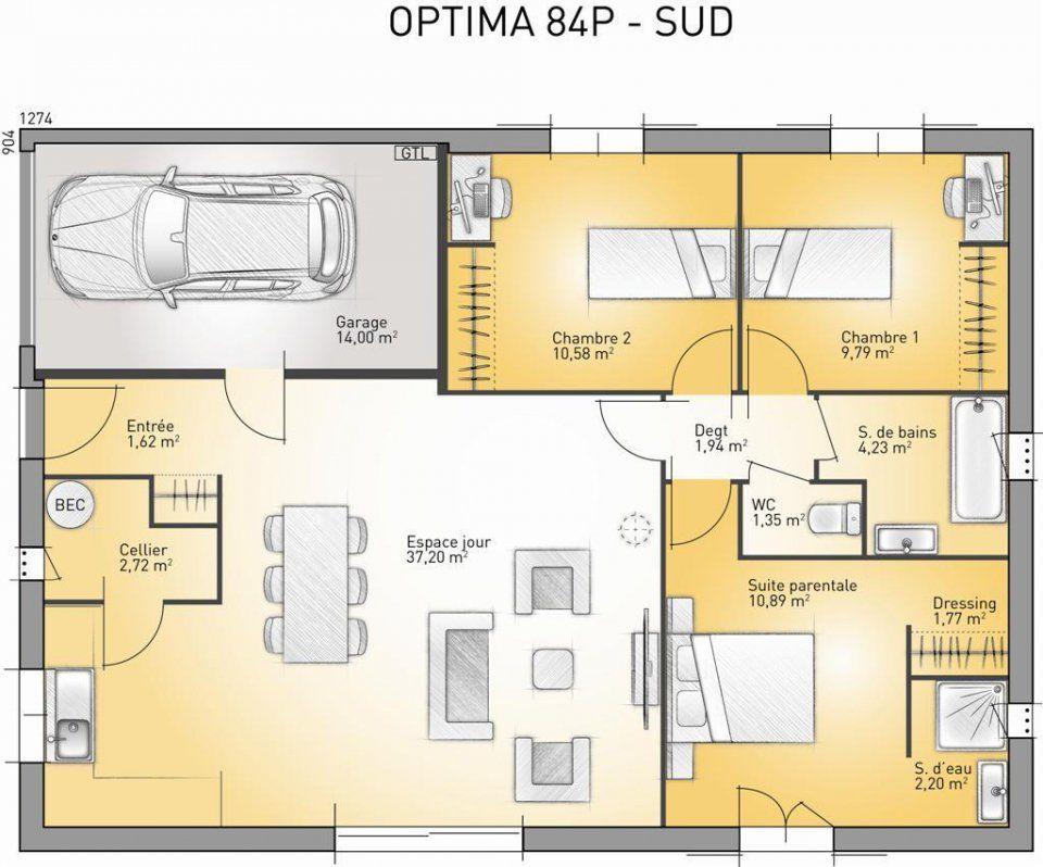 Plan maison neuve à construire - Maisons France Confort Optima 84 P - plan de maison en l de plain pied gratuit