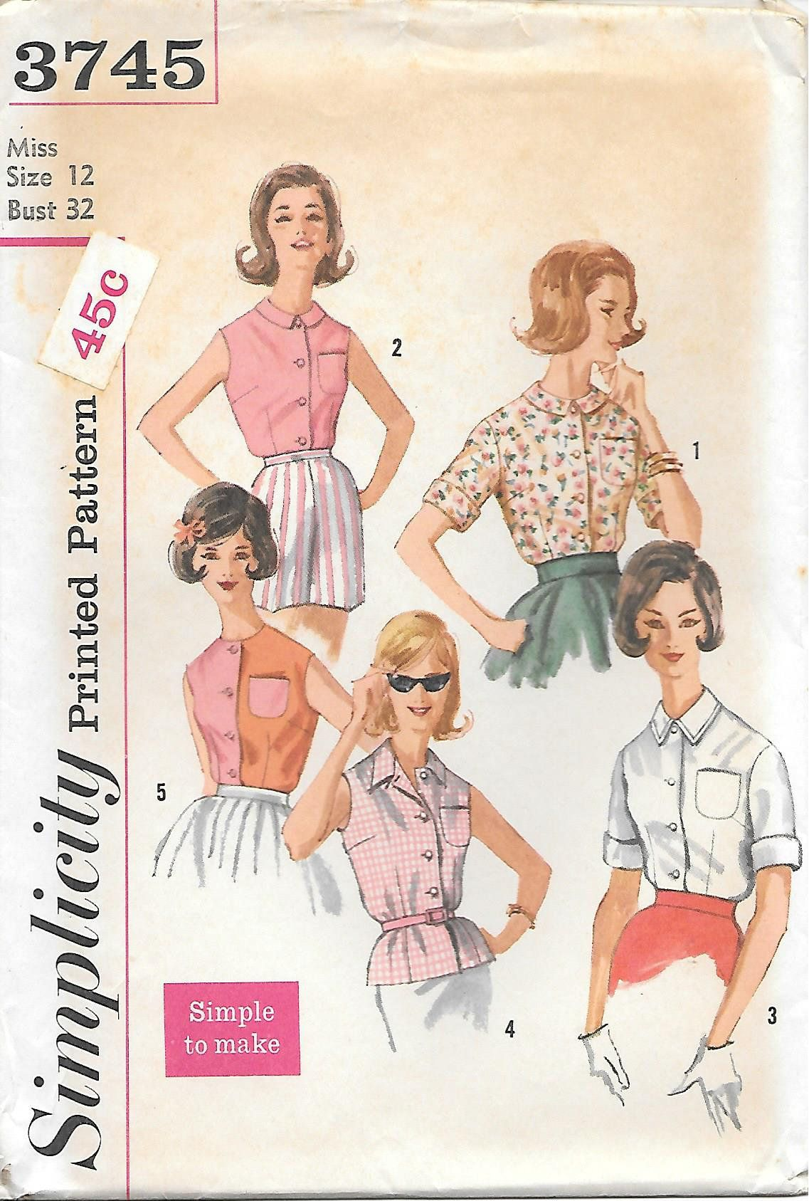 1960s Simplicity 3745 Simple To Make Blouse Vintage Sewing Etsy Vintage Sewing Vintage Sewing Patterns Sewing Patterns