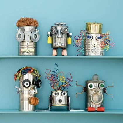robots de conserve projets essayer pinterest construire recyclage et figurine. Black Bedroom Furniture Sets. Home Design Ideas