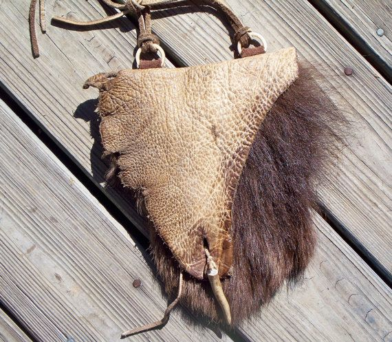 9a068bd0ca Primitive Mountain Man Possibles Belt Bag or Strike a Lite made from a Hair  on Buffalo Leg