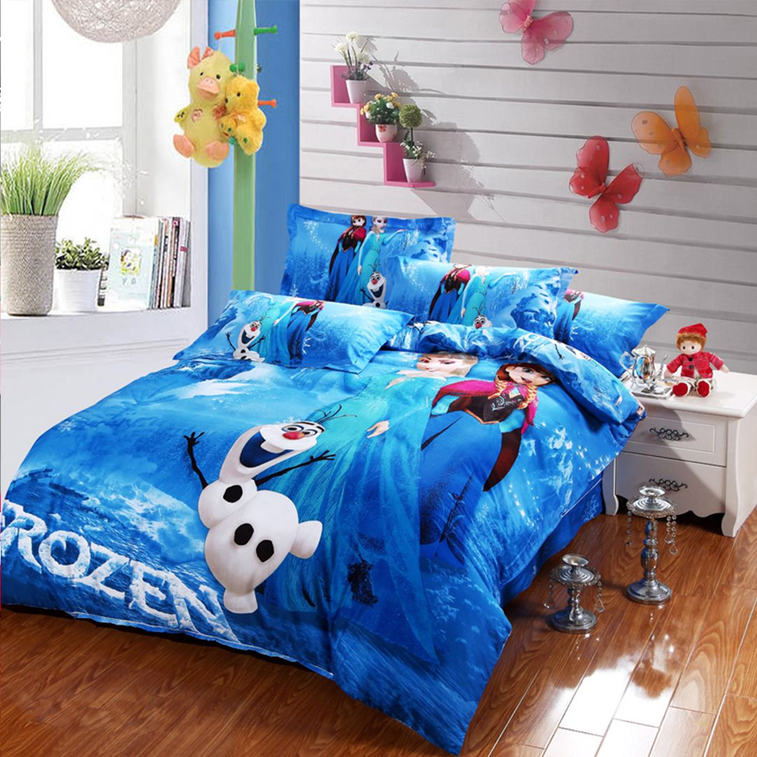 Disney Frozen Bedding Set 100 Cotton 4pcs Twin Full Queen King Size Available Frozen Bedding Queen Size Comforter Sets Frozen Bed Set