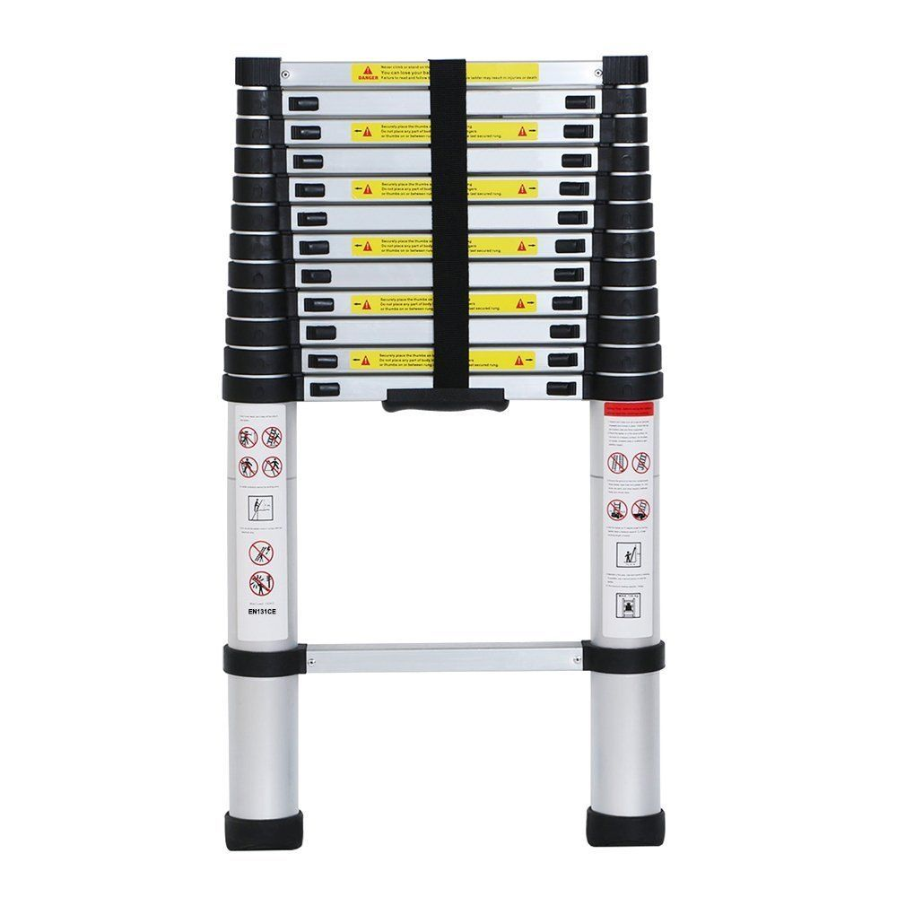 Compact 12 5 Ft Telescoping Ladder By Home Living 12 Steps Lightweight With Feet Ebay Telescopic Ladder Multi Ladder Multi Purpose Ladder