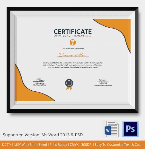 Award Certificate Template 25 Word Pdf Psd Format Download Template