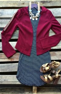 boutique clothing, Get The Job Done Blazer - Burgundy