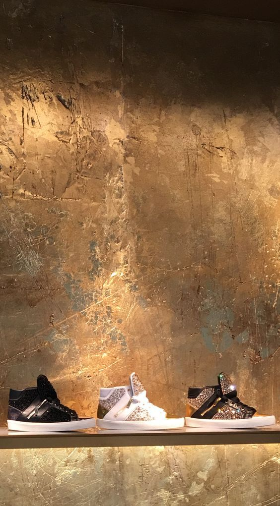 Gold Leaf - Gilded, cracked resin plaster distressed and carved handmade by Stuart Fox - Special commission by GINA shoes London for the Sloane Street boutique.