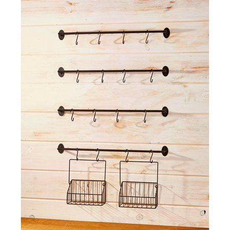 Wall Rack for Coffee Mugs, Tea Cups with Industrial Pipe Style - 6 Pieces - Walmart.com
