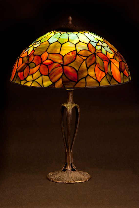 tiffany stained glass lamp woodbine pattern lamp by wpworkshop