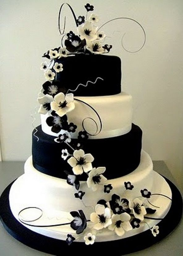 black wedding cakes with flowers black white themed wedding inspiration wedding cakes 11887