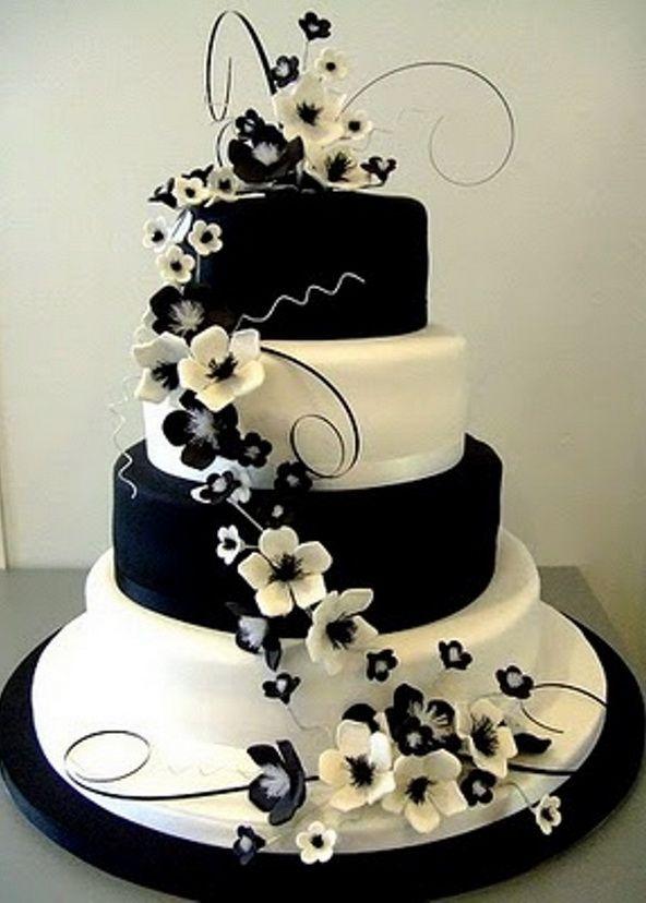 Stunning Black And White Floral Wedding Cake