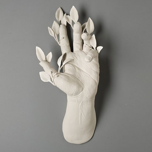 "Soliphilia, 10""x5 ½""x4"", hand built porcelain, 2/2010 #hand #leaves #scuplture"