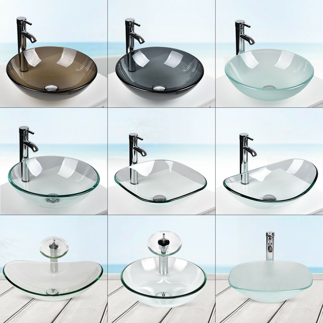 Bathroom Tempered Glass Vessel Sink Washing Bath Basin Bowl Faucet