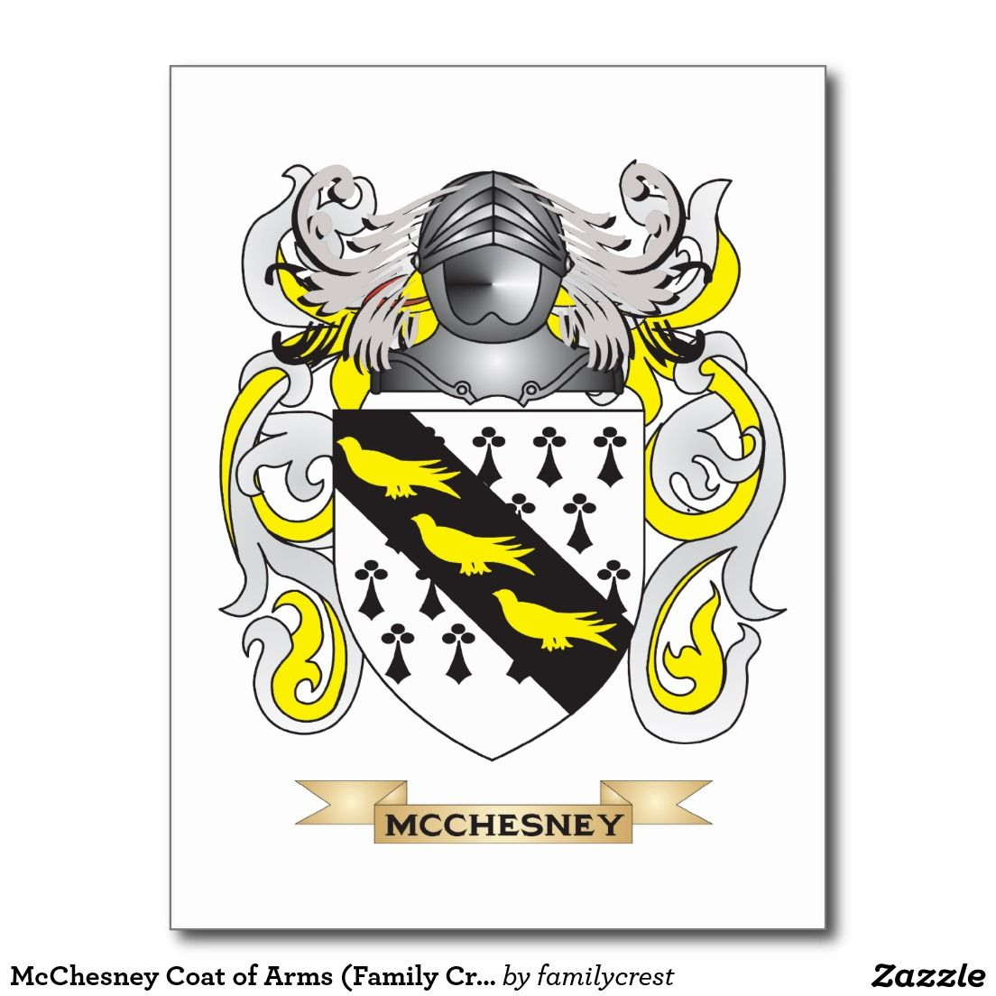McChesney Coat of Arms (Family Crest) Postcard | Zazzle com