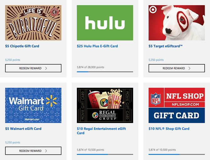 Microsoft Rewards Gift Cards Hulu Gift Card Chipotle Gift Card