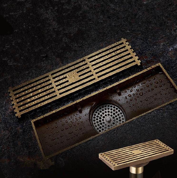 Photo of Drains Euro Style Antique Brass Bathroom Linear Shower 8 * 20 8 * 30cm Floor Drain Wire Sieve Type Carved Cover Waste Drain B8029