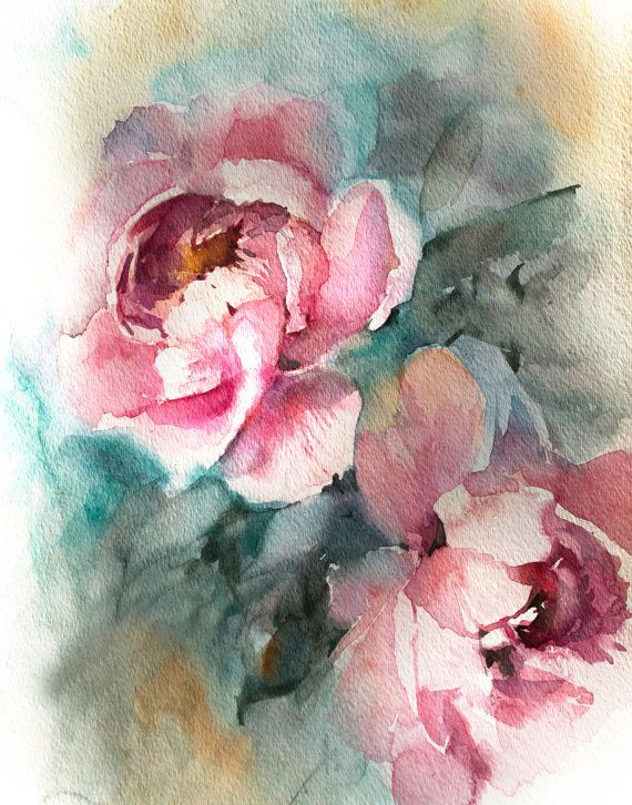 Art Print From Original Watercolor Painting By Canotstop Pink
