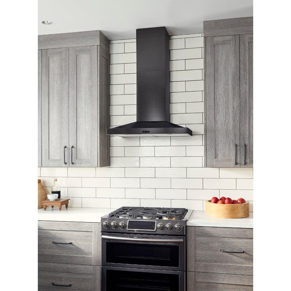 Broan Nutone Elite 30 In 500 Cfm Convertible Wall Mount Chimney Range Hood With Light In Black Stainless Steel Ew5430bls The Home Depot Black Stainless Steel Kitchen Kitchen Range Hood Kitchen Vent Hood