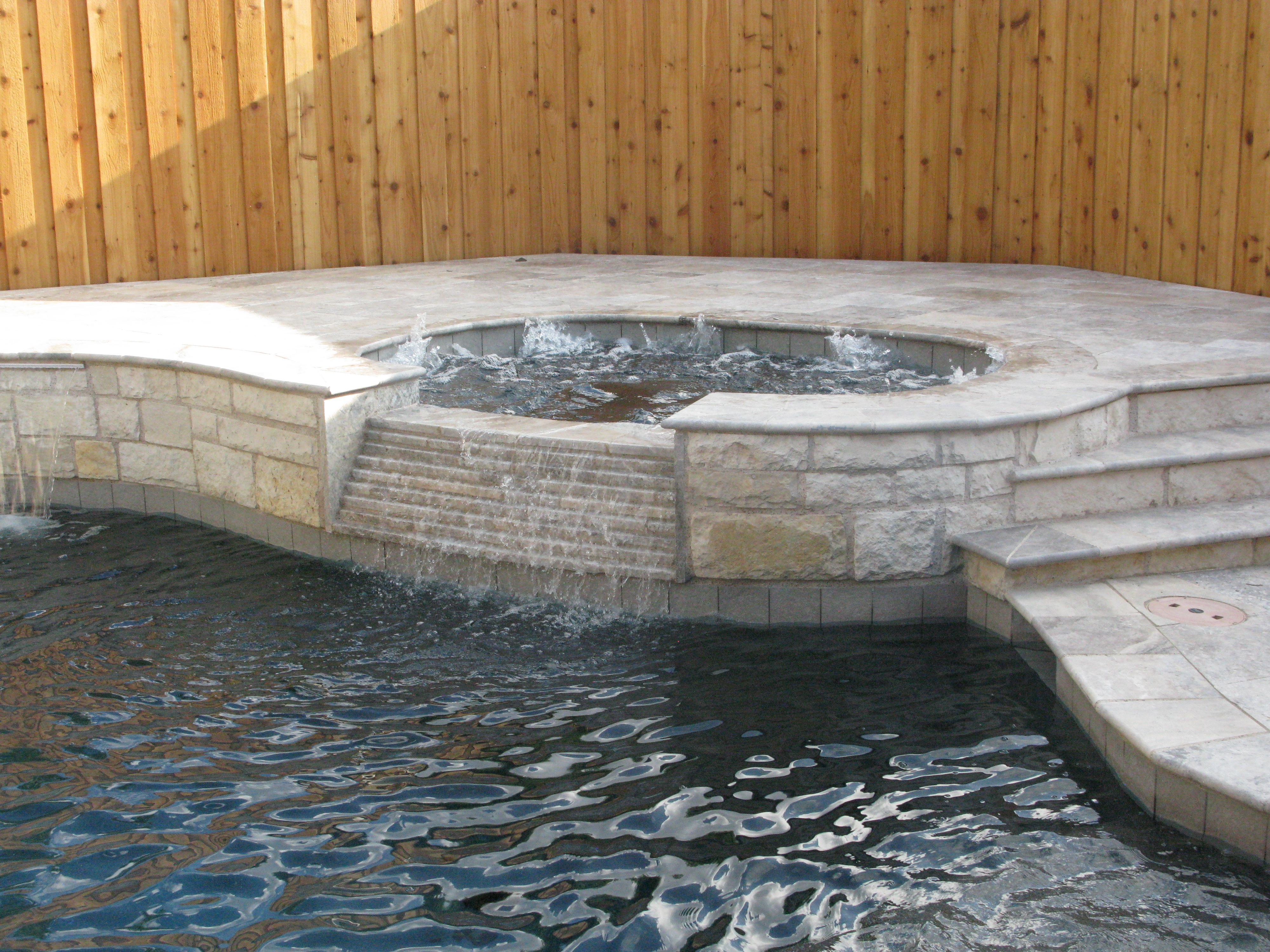 Pool With Elevated Spa And Austin Stone Accents