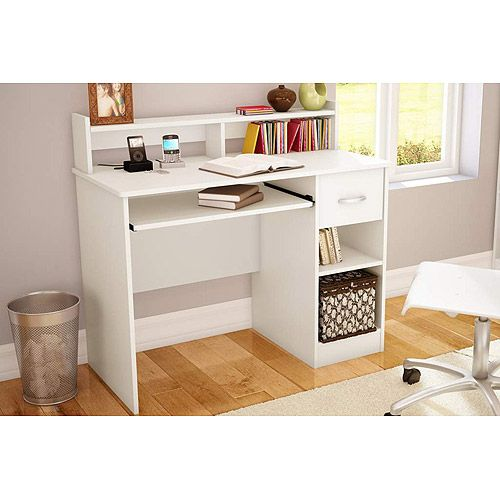 South Shore Smart Basics Small Desk With Keyboard Tray Multiple Finishes Walmart Com Modern Computer Desk Small Desk Home Office Computer Desk