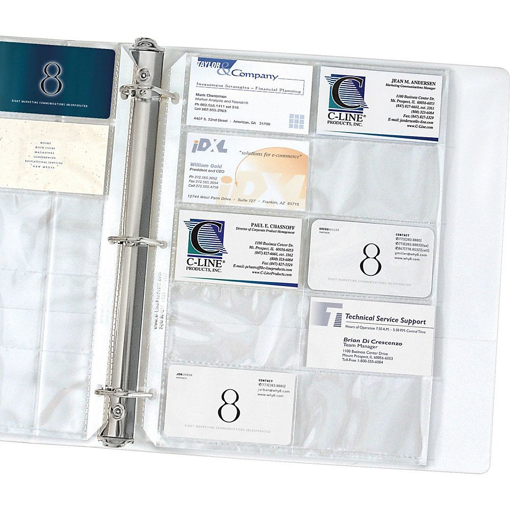 """CLine Business Card Holders Without Tabs, 8 1/8"""" x 11 1/4"""