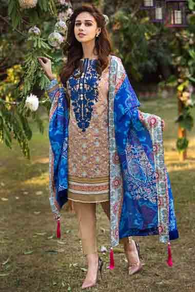 alkaram brown and blue new summer lawn dresses 2017 for ...