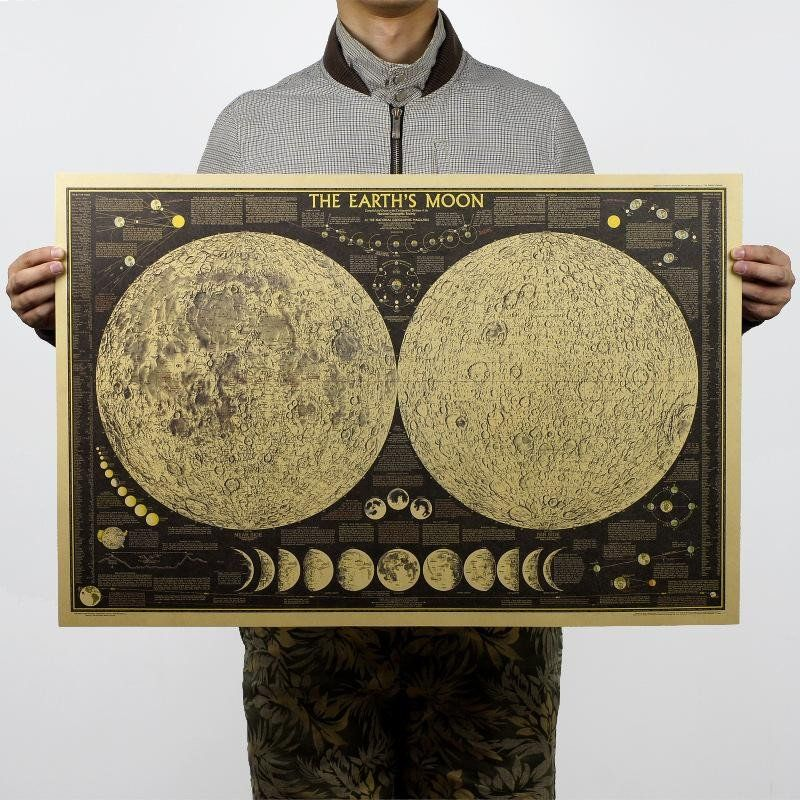 Moon phase world map poster moon phases and walls moon phase world map poster gumiabroncs Image collections