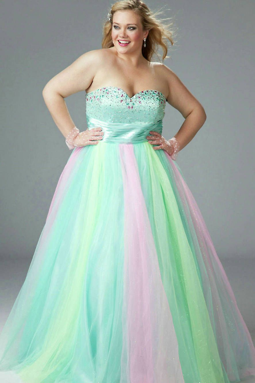 Full Length Strapless Rainbow Ballgown Multi colored Embelliment ...