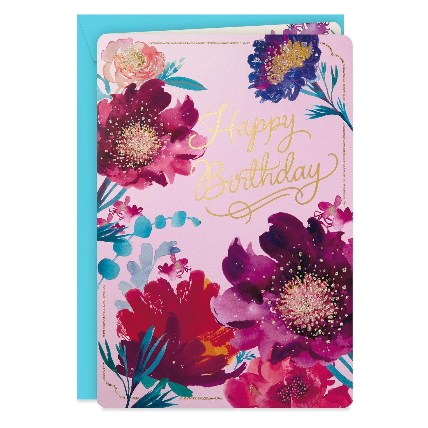 Purple Flowers Jumbo Birthday Card 16 25 Beautiful Birthday Cards Birthday Wishes Flowers Birthday Cards
