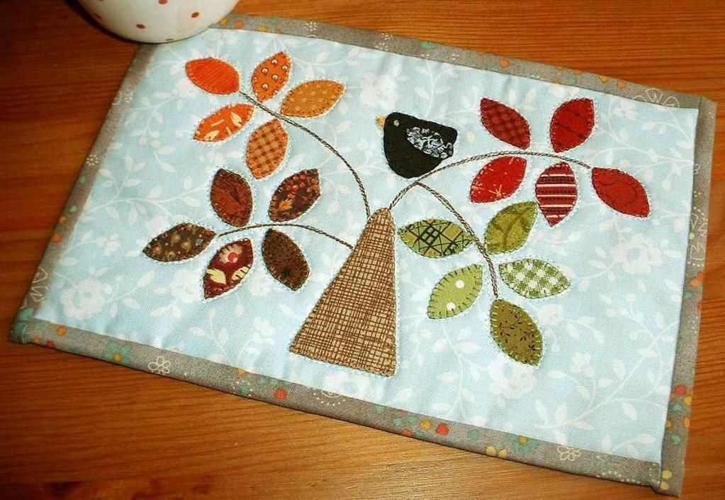 Seasonal Tree Mug Rug. Spring, Summer, Autumn or Winter - it all depends on the scraps you have!