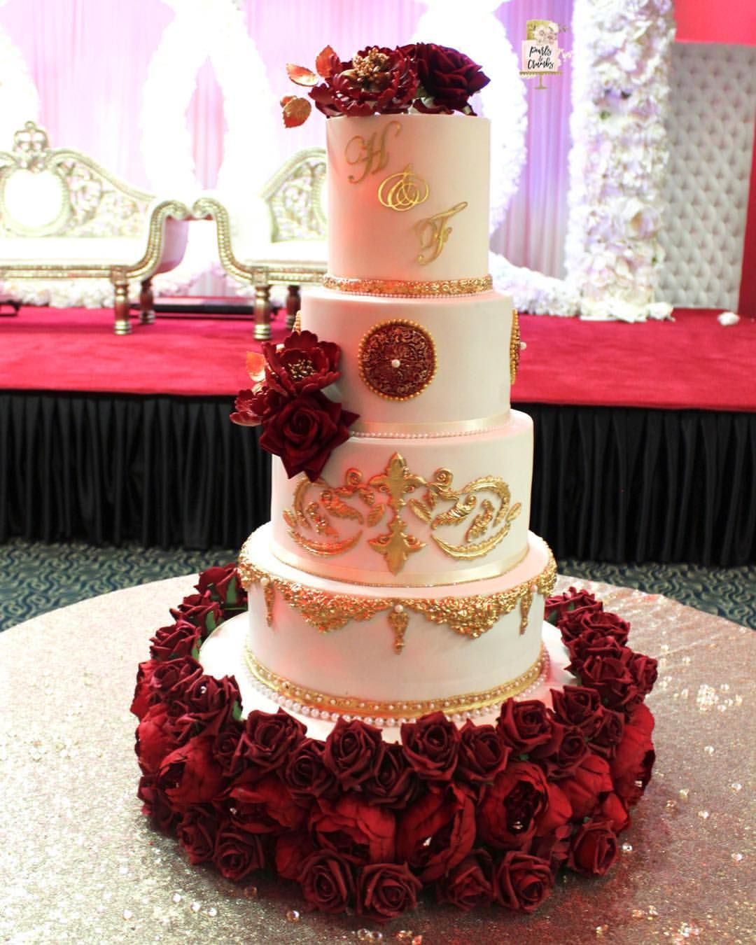 4 Tier Wedding Cake Requested In Heavy Gold Mould Work And