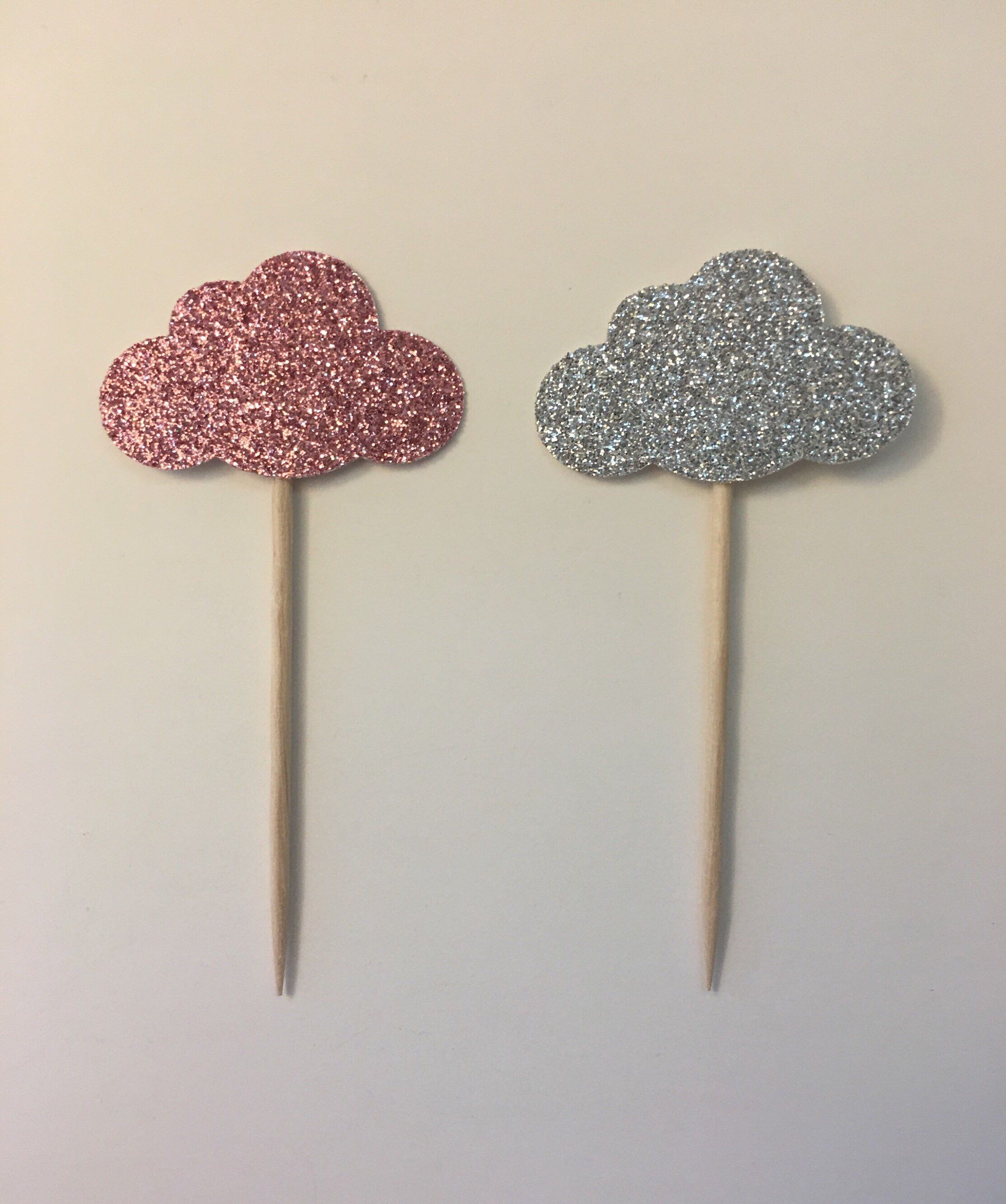 Glitter cloud cupcake toppers etsy cloud cupcakes