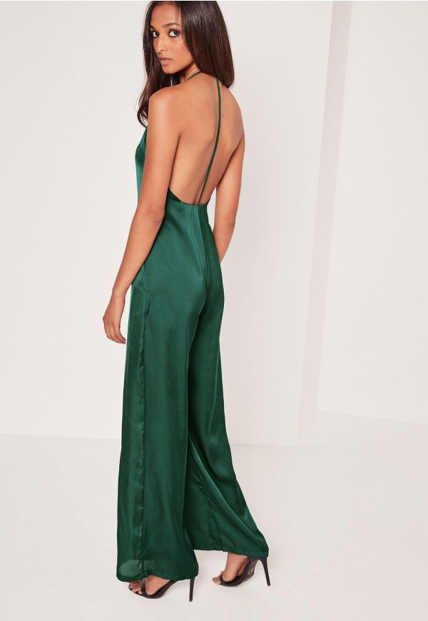 Silky Plunge T bar Jumpsuit Green - Missguided