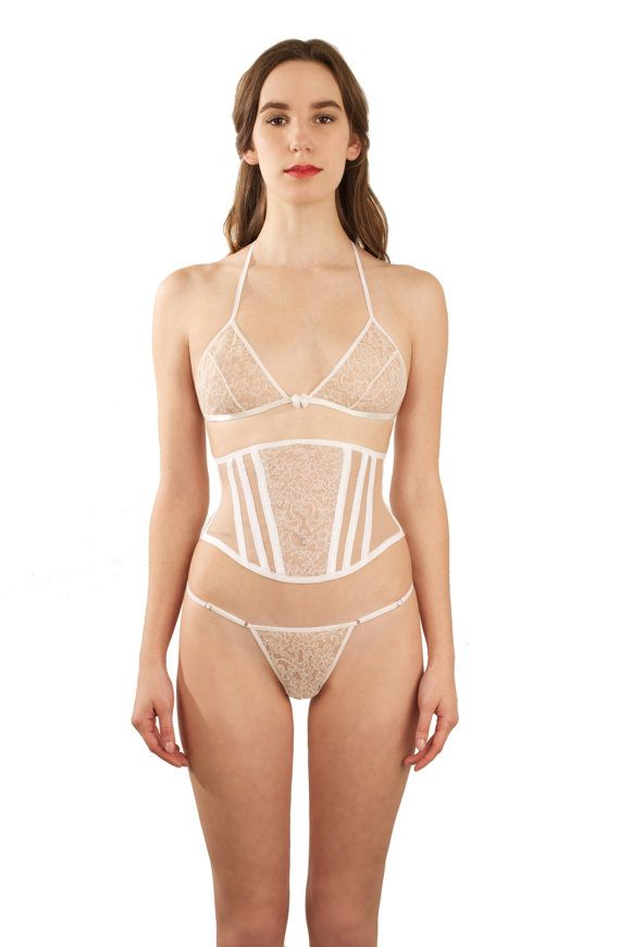 Margot lace bralette - ivory white French lace sheer bralet, soft cup bra,  wire