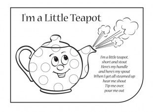 I M A Little Teapot Coloring Page Nursery Rhymes Activities