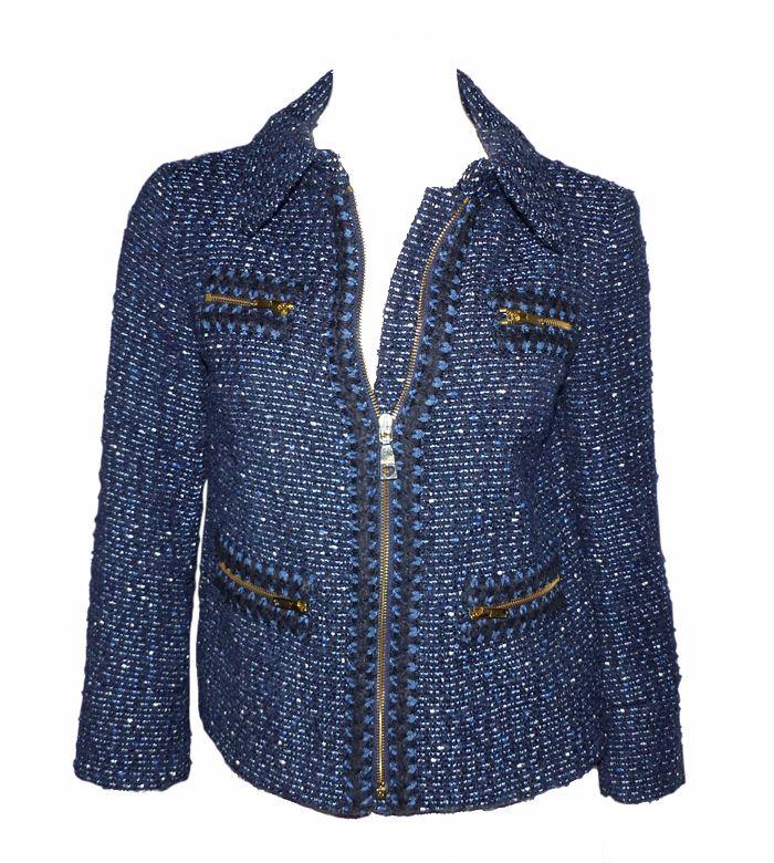 depot vente de luxe en ligne MOSCHINO veste en tweed de laine bleu jeans    TendanceShopping.com 41a27ed1059