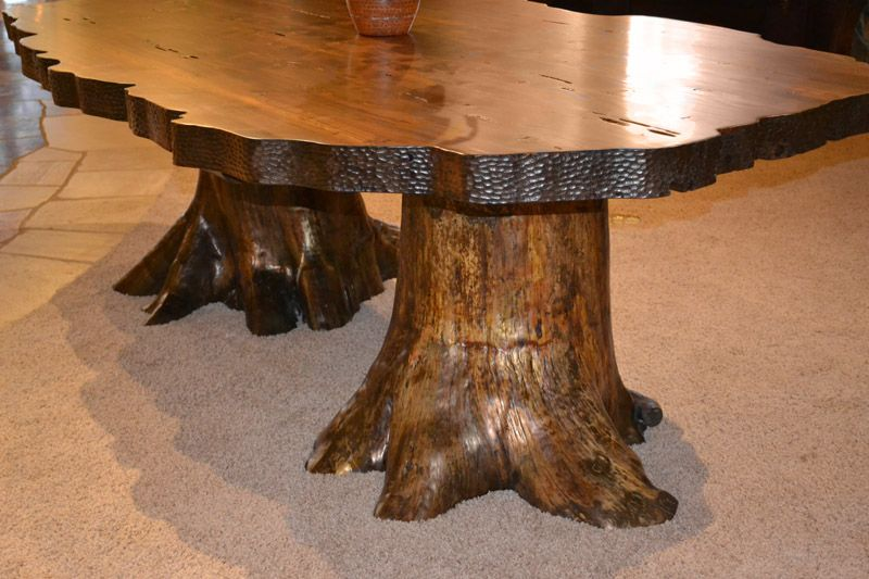 Natural Edge Log Base Lodge Dining Table Dt590 Natural