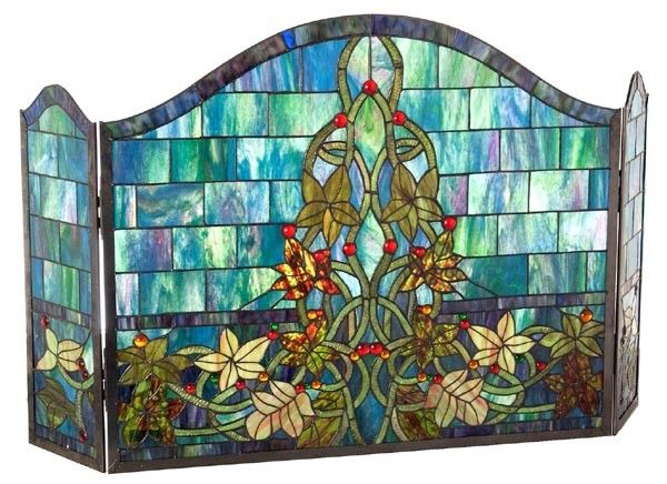 VINES on Castle Wall STAINED GLASS Fireplace Screen   Colors ...