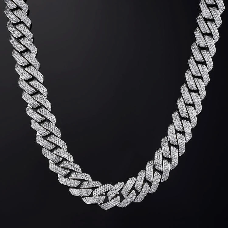 19mm Prong Cuban Link Chain In White Gold Cuban Link Chain Cuban Link Chain