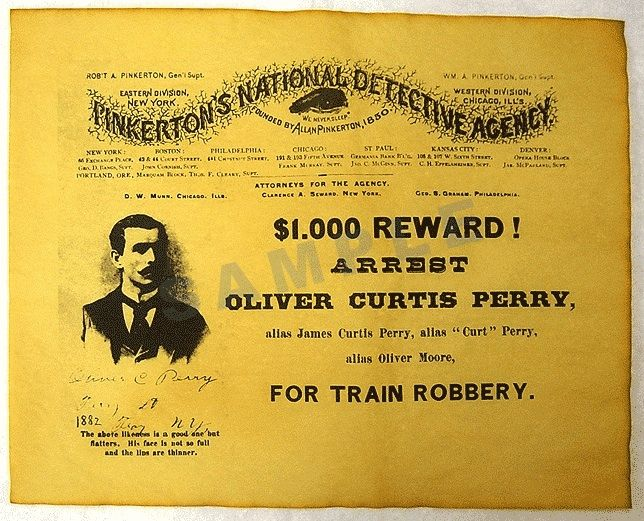 Wanted Poster from Pinkerton Detectives for arrest of Oliver - criminal wanted poster