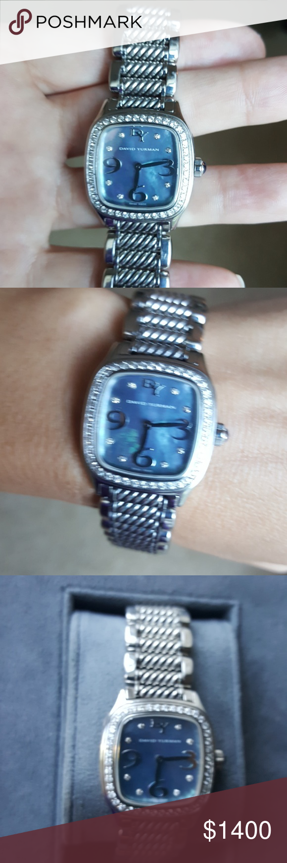 David Yurman diamond bezel  Watch Stunning Thoroughbred diamond bezel blue mother of pearl. This watch has been sized for a small wrist. 2 links have been removed, never found. Fits 7 inch. Beautuful watch in perfect condition. Includes box . Price reflects missing links David Yurman Accessories Watches