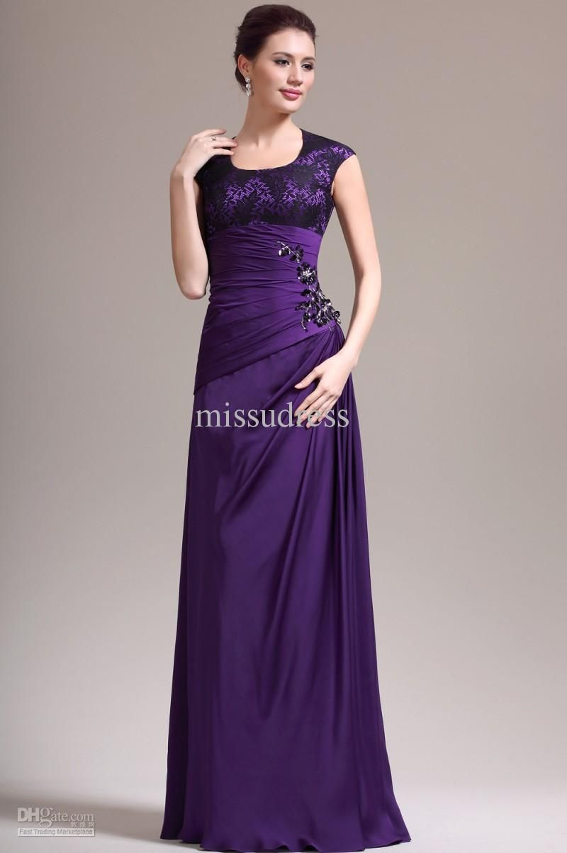 Purple Mother Of The Bride Dress Scoop Lace Bodice Satin Chiffon Fabric A Line Formal