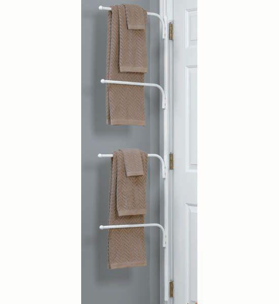 Hinge It Clutter Buster Door Towel Rack   White In Wall And Door Storage  Racks