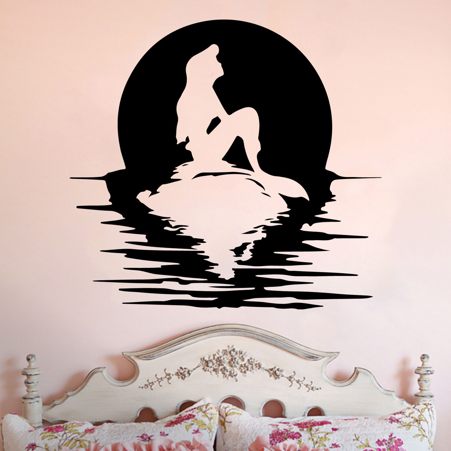 Ariel Full Moon Silhouette Little Mermaid Inspired Vinyl Wall - How to make vinyl wall decals with silhouette cameo