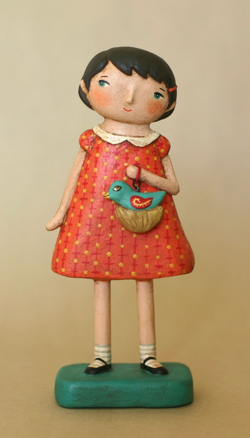 Girl with Nesting Bird Paperclay OOAK Art Doll.