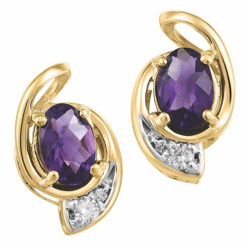 Yellow Gold Amethyst Diamond Earrings Online In Canada Diamondsonline