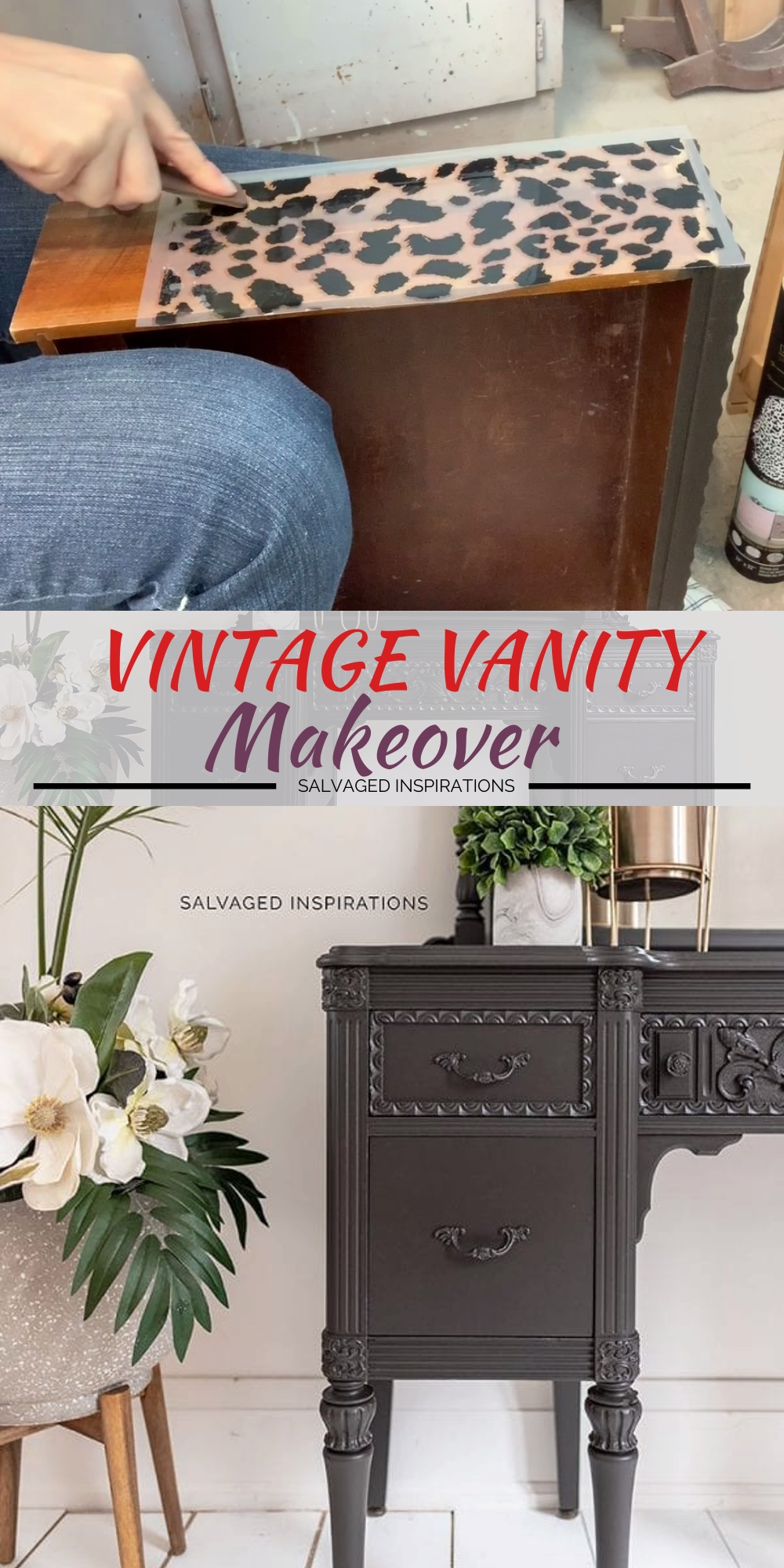Here's a modern-moody-black-brown that makes a statement while adding a TON of character to your furniture makeovers, decor projects… and even your walls.  I'm also including a few quick tips that I've learned over the years to make painting these vanities and mirrors A LOT faster.  #siblog #inspiration #inspo #paintedfurniture #vintagevanity #furniturerestyled #paintingtutorials #howto #diyfurniture #furniturepaintingtutorials #redesignwithprima #dixiebellepaint #coffeebean #brownblack