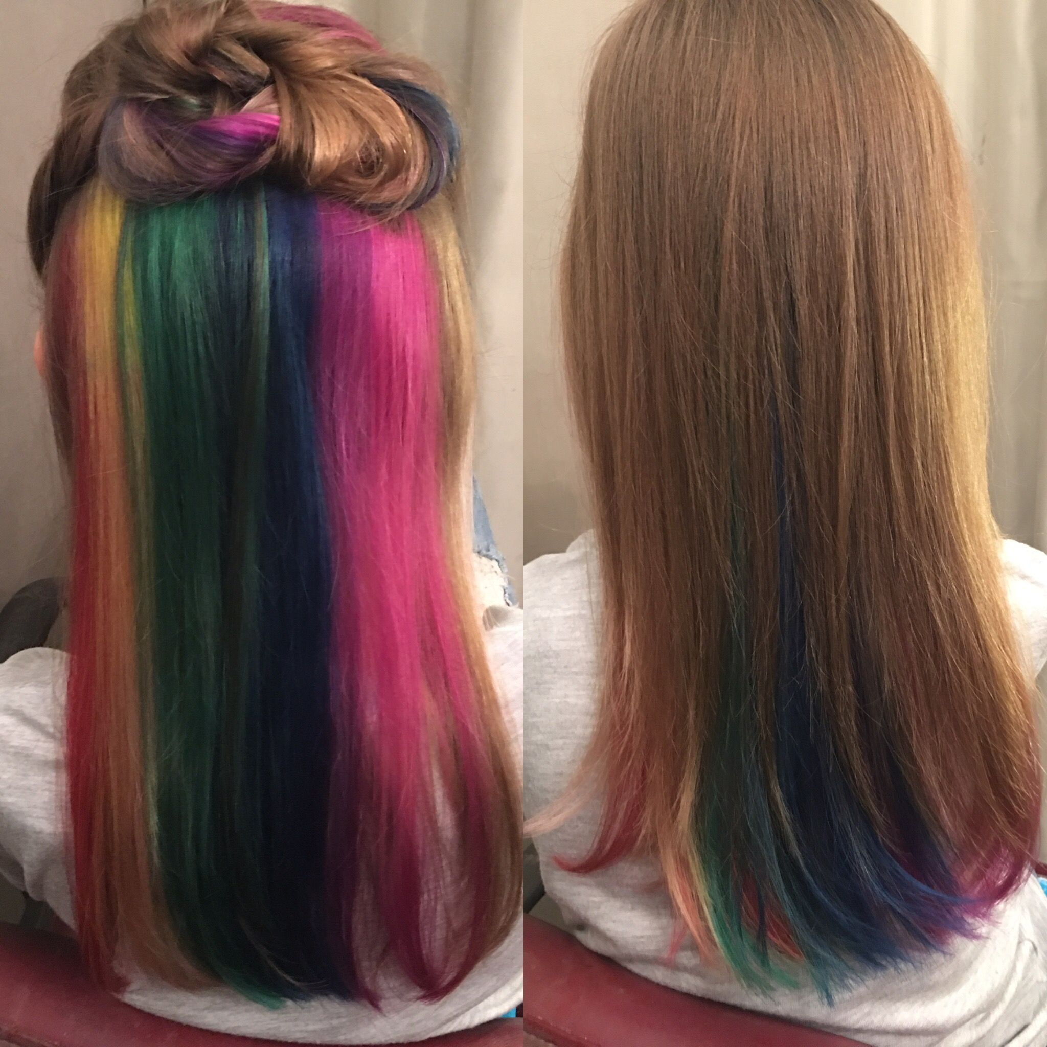 Little Girl Rainbow Hair We Placed This Color In The Center Section Of Her Back Profile So That When Sh Kids Hair Color Little Girl Hairstyles Girl Hairstyles